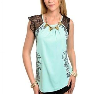 Tops - New Green Embroidered Blouse
